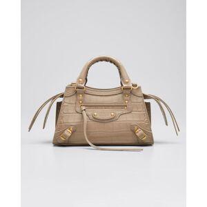 Balenciaga Neo Classic City Mini Supple Shiny Croco Satchel Bag  - MINK GREY - MINK GREY
