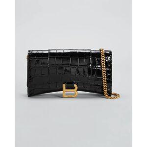 Balenciaga Hourglass Shiny Mock-Croc Chain Wallet  - BLACK - BLACK
