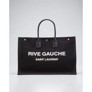 Saint Laurent Men's Noe Rive Gauche Canvas Tote Bag  - NERO/BIANCO - NERO/BIANCO