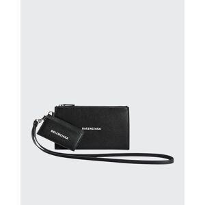 Balenciaga Men's Leather Logo Cash Pouch  - BLACKL WHITE - BLACKL WHITE
