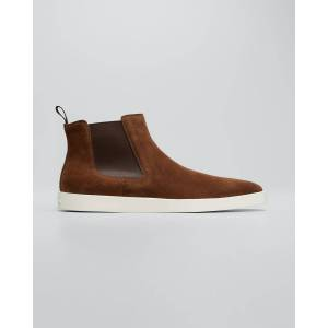Santoni Men's Suede Chelsea Boot Sneakers  - BROWN S50 - BROWN S50 - Size: 13D