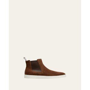 Santoni Men's Suede Chelsea Boot Sneakers  - BROWN S50 - BROWN S50 - Size: 11D