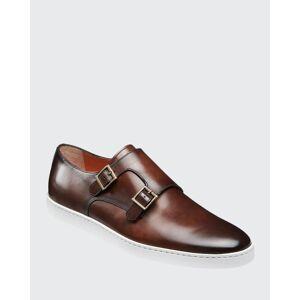 Santoni Men's Freemont Double-Monk Leather Sneakers  - BROWN - BROWN - Size: 10D
