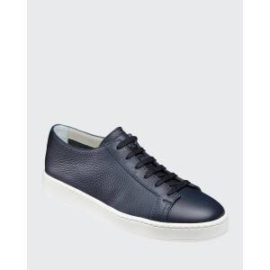Men's Clean Iconic Leather Low-Top Sneakers, Navy  - BLUE - BLUE - Size: 10.5D