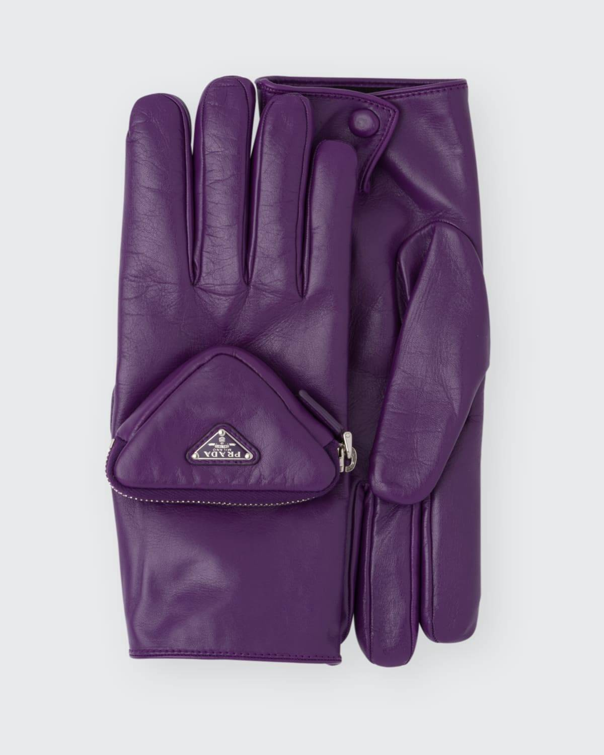 Prada Men's Fashion Show Leather Gloves With Pocket  - F0106 CICLAMINO - F0106 CICLAMINO - Size: 8IN