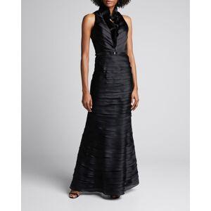 Deep-V Window-Shutter Satin Organza Gown  - BLACK - BLACK - Size: 12