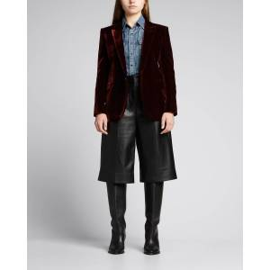 Saint Laurent Velour Deep-V Jacket  - WINE - WINE - Size: 42 FR (10 US)