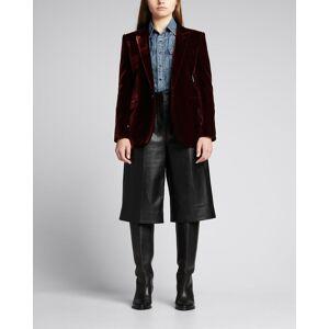 Saint Laurent Velour Deep-V Jacket  - WINE - WINE - Size: 40 FR (8 US)