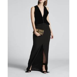 Crepe Gown with Velvet Peplum Bodice  - BLACK - BLACK - Size: 40 IT (4 US)