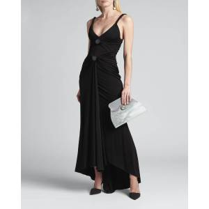 High-Low Front Ruched Jersey Gown  - BLACK - BLACK - Size: 44 IT (8 US)