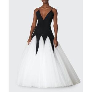 Bicolor V-Neck Godet Gown  - BLACKWHITE - BLACKWHITE - Size: 4