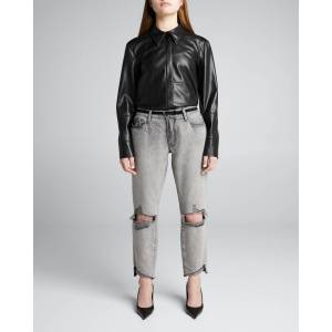 Le Garcon Front-Cuff Cropped Jeans  - MONSOON RIPS - MONSOON RIPS - Size: 27