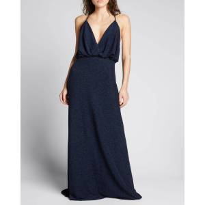 Shimmer Plunging-Neck Sleeveless Gown  - NAVY - NAVY - Size: 10