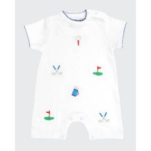 Sammy + Nat Boy's Golf Summer Embroidered Short-Sleeve Playsuit, Size 3-18M  - BLUE - BLUE - Size: 9 Months