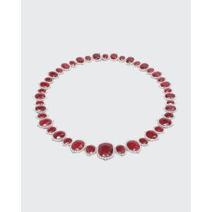 Bayco Oval Mozambique Ruby and Diamond Necklace