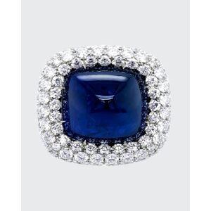 Bayco Sugarloaf Cabochon Sapphire and Diamond Ring