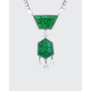 Bayco Carved Zambian Emerald and Diamond Necklace