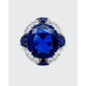 Bayco Oval Natural Royal Blue and Ceylon Sapphire Ring with Diamonds