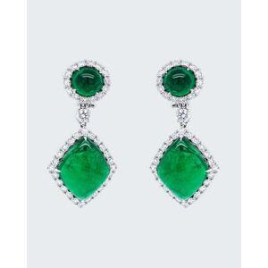Bayco Cabochon Zambian Emerald Drop Earrings with Diamonds