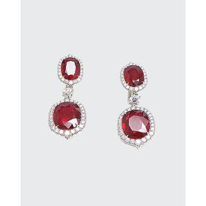 Bayco Oval Mozambique Ruby and Diamond Drop Earrings
