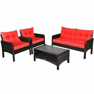 Costway 4 Pcs Outdoor Rattan Wicker Loveseat Furniture Set with Cushions-Red