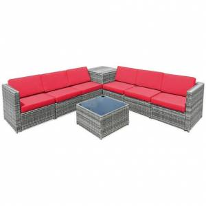 Costway 8 Piece Wicker Sofa Rattan Dinning Set Patio Furniture with Storage Table-Red