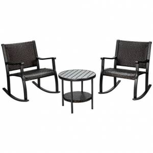 Costway 3 Pcs Patio Rattan Furniture Set with Coffee Table and Rocking Chairs