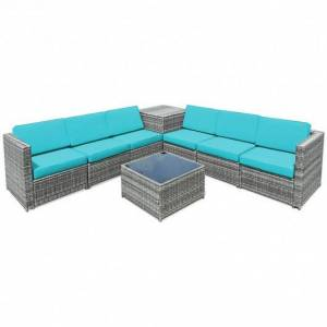 8 Piece Wicker Sofa Rattan Dinning Set Patio Furniture with Storage Table-Turquoise
