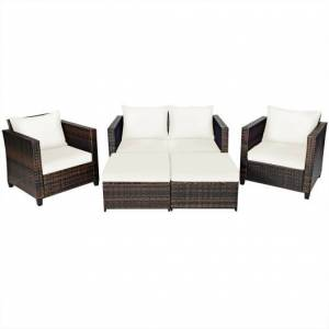Costway 5 Pieces Patio Cushioned Rattan Furniture Set-White