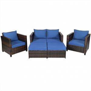 Costway 5 Pieces Patio Cushioned Rattan Furniture Set-Navy