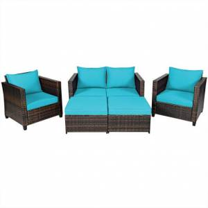 Costway 5 Pieces Patio Cushioned Rattan Furniture Set-Turquoise