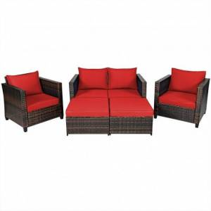 Costway 5 Pieces Patio Cushioned Rattan Furniture Set-Red