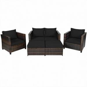 Costway 5 Pieces Patio Cushioned Rattan Furniture Set-Black