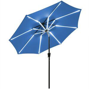 Costway 9Ft Solar LED Market Umbrella with Aluminum Crank Tilt 16 Strip Lights-Blue