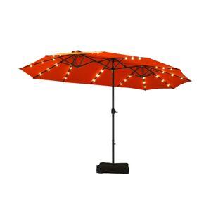 Costway 15 Ft Solar LED Patio Double-sided Umbrella Market Umbrella with Weight Base-Orange