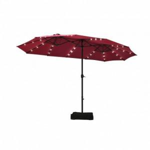 Costway 15 Ft Solar LED Patio Double-sided Umbrella Market Umbrella with Weight Base-Red