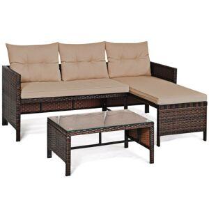 3 Piece Patio Wicker Rattan Sofa Set