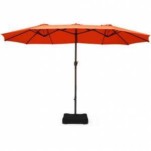 Costway 15 Foot Extra Large Patio Double Sided Umbrella with Crank and Base-Orange