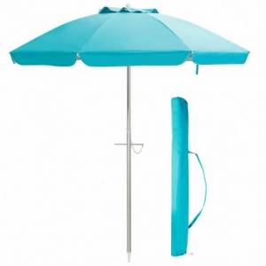 6.5 Feet Beach Umbrella with Sun Shade and Carry Bag without Weight Base-Blue
