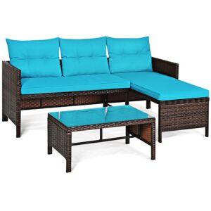 Costway 3 Piece Patio Wicker Rattan Sofa Set-Turquoise