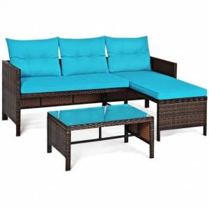 3 Piece Patio Wicker Rattan Sofa Set-Turquoise