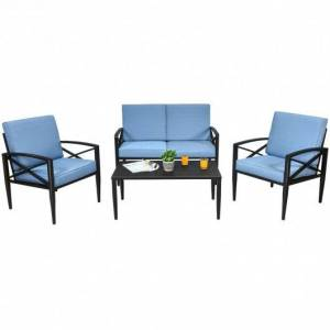 Costway 4PCS Patio Furniture Set Aluminum Frame Cushioned Sofa