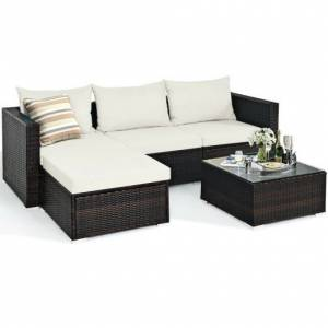 Costway 5 Pieces Patio Rattan Furniture Set with Coffee Table-Off White