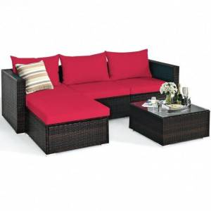 Costway 5 Pieces Patio Rattan Sectional Furniture Set with Cushions and Coffee Table-Red