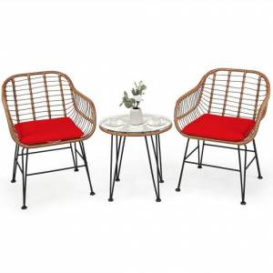 Costway 3 Pcs Patio Rattan Bistro Set with Cushion-Red