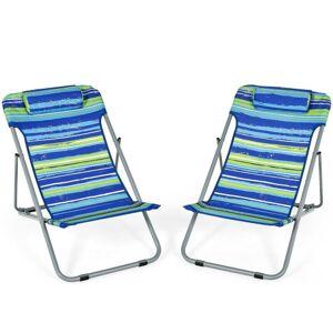 Portable Beach Chair Set of 2 with Headrest -Blue