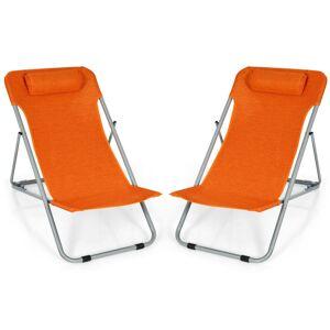 Costway Portable Beach Chair Set of 2 with Headrest -Orange