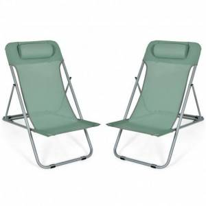 Costway Portable Beach Chair Set of 2 with Headrest -Green