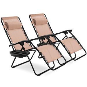 Costway 2 pcs Folding Recliner Zero Gravity Lounge Chair - Beige