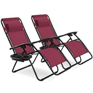Costway 2 pcs Folding Lounge Chair with Zero Gravity-Wine